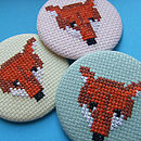 Large Cross-Stitch Woodland Fox Badge