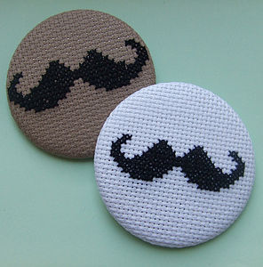 Large Cross-Stitch Moustache Badge