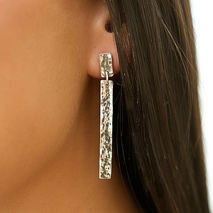 Skinny Hammered Drop Earrings
