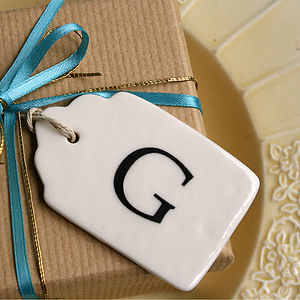 Personalised Initial Porcelain Gift Label