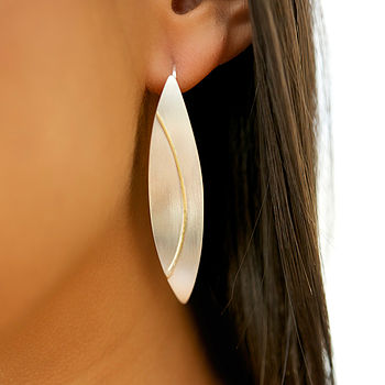 Large Silver Olive Drop Earrings With 18ct Gold Detail