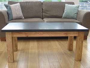 Slate And Oak Coffee Table - coffee tables