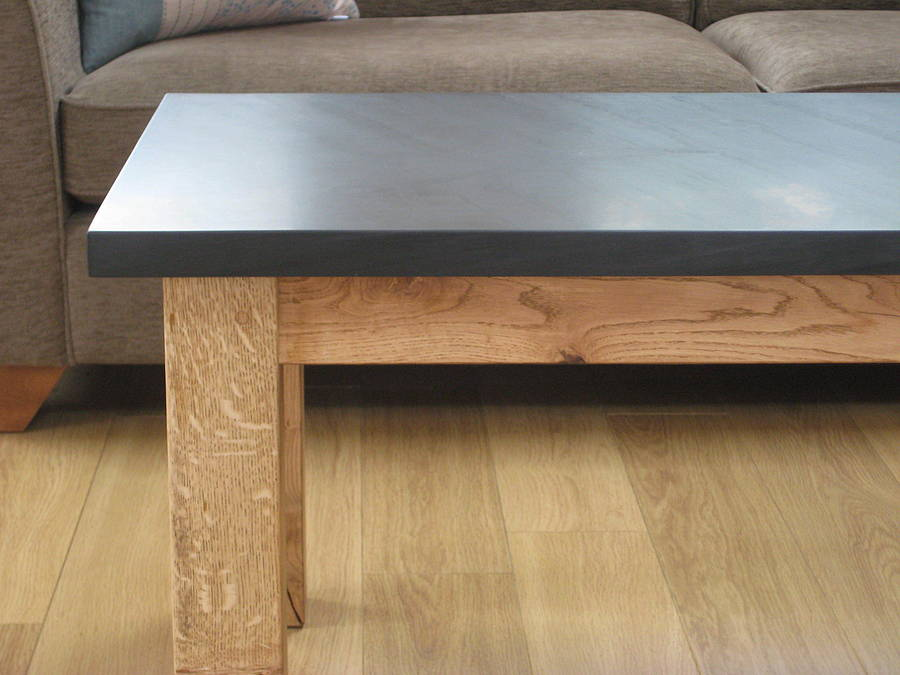 Slate And Oak Coffee Table By Grasi