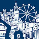 London Music screen print close up