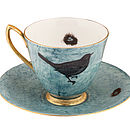 Dark Blue Melody Rose Bird and Nest Teacup