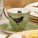 Green Melody Rose Bird and Nest Teacup