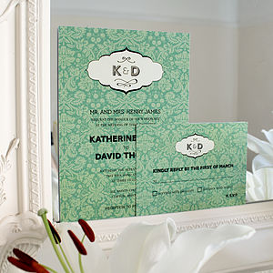 Antique Initials Wedding Stationery Range - save the date cards