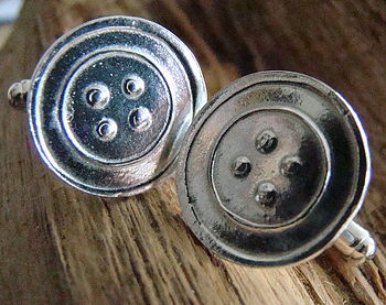 Silver Button Cuff Links