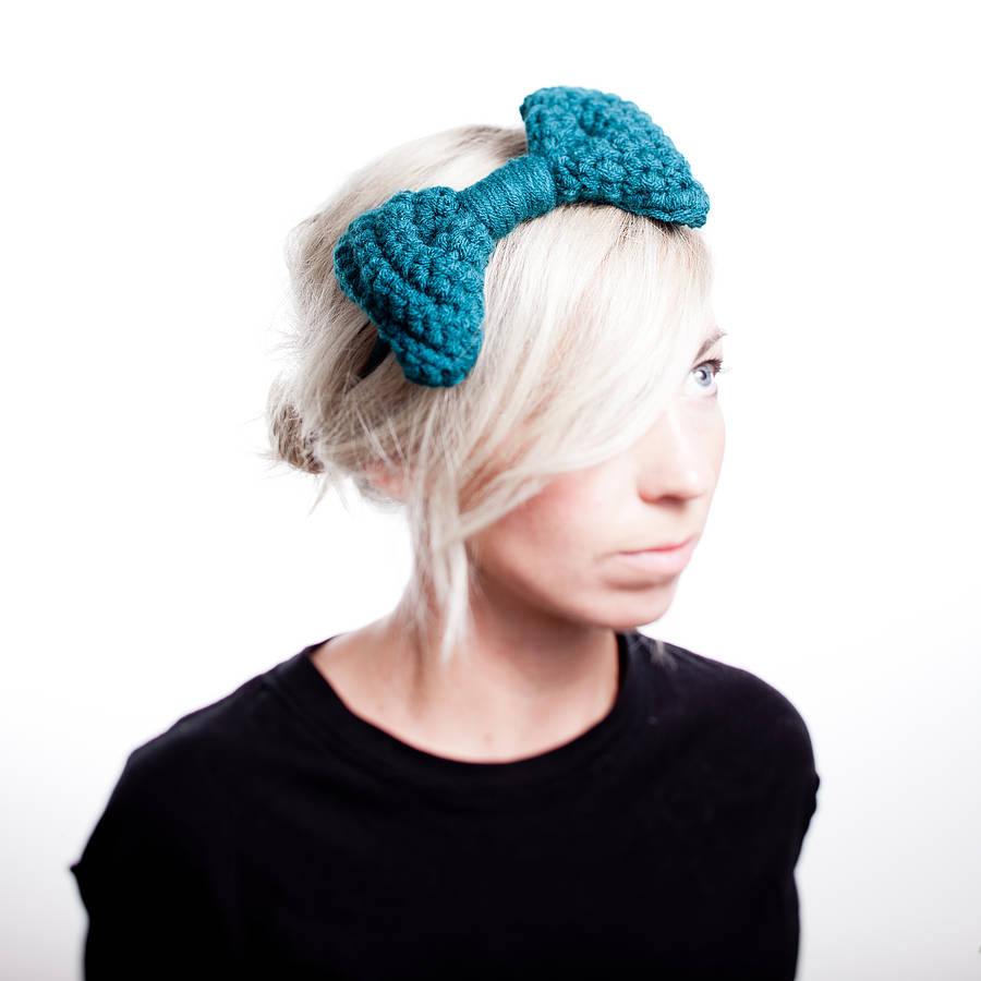 Knitted Headband With Bow Pattern : knitted bow headband by eka notonthehighstreet.com