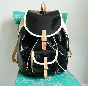 Navy Patent Leather Backpack - backpacks