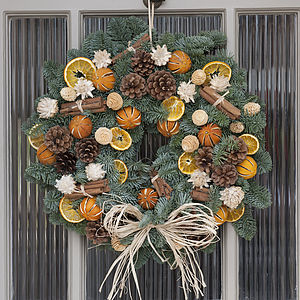 Christmas Scented Fresh Fir Door Wreath - christmas flowers & plants