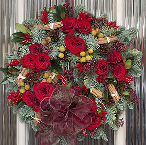 Coming Up Roses Fresh Door Wreath - wreaths