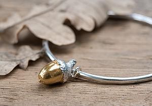Gold Acorn Bangle - bracelets & bangles
