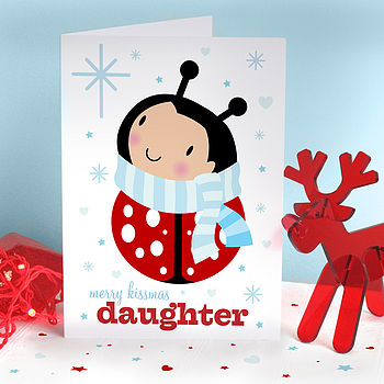 Daughter Girl Bug Christmas Card