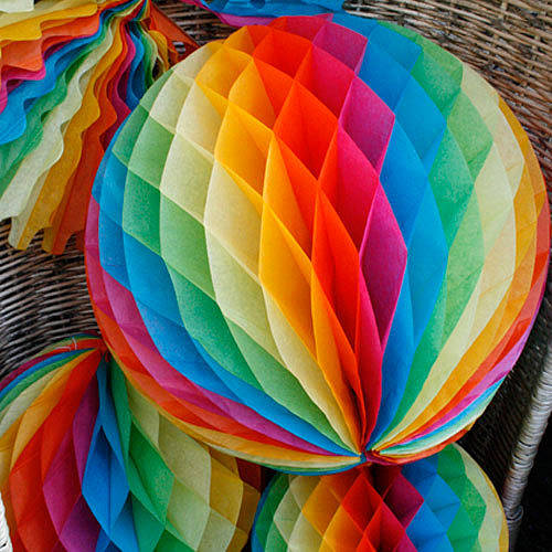 rainbow paper party decorations by pearl and earl