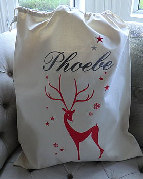 Embroidered Deer Christmas Sack Extra Large