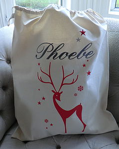 Embroidered Deer Christmas Sack