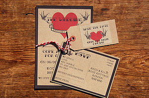 Vintage Tatoo Wedding Stationery - invitations