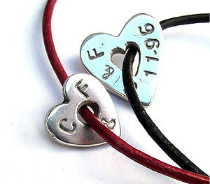 Graffiti Silver Heart Bracelet - men's jewellery