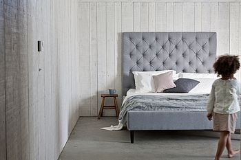 'Isabella' High Headboard Upholstered Bed in Fabric House Grey