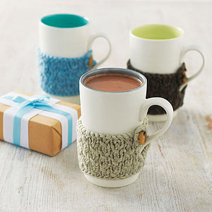Hand Knitted Cosy Mug - tea & coffee cosies
