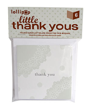 Six Pack Little Thank You Cards: Doiley