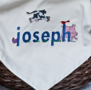 Organic Baby Name Personalised Farm Blanket - bedding & accessories