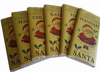 Six Personalised Love Santa Chocolate Bars