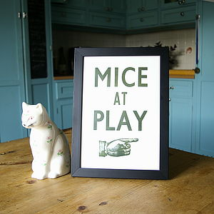 Hand Pressed Print: Mice At Play