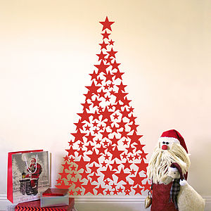 Stars And Hearts Christmas Tree Wall Sticker - wall stickers