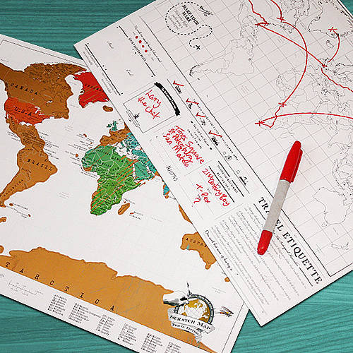 scratch map original travel size poster by luckies – Scratch Map Travel Edition