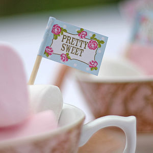 20 Food Flags For Tea Parties - cake decorations & toppers