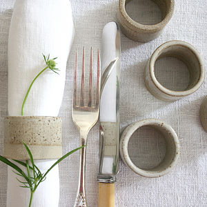 Stoneware Napkin Ring - botanical dining