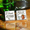 If Found Return To Bar Bone China Cufflinks