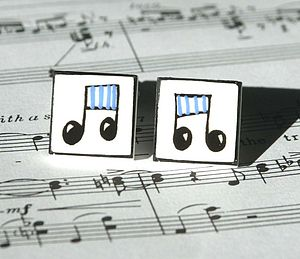 Blue Notes Bone China Cufflinks