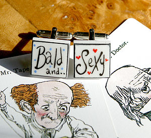 Bald And Sexy Bone China Cufflinks