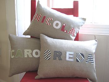 Handmade Linen Applique Personalised Name Cushion