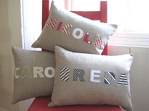 Handmade Linen Applique Personalised Name Cushion - cushions