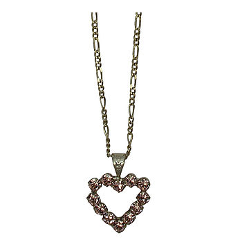 Diamante Rose Heart Necklace