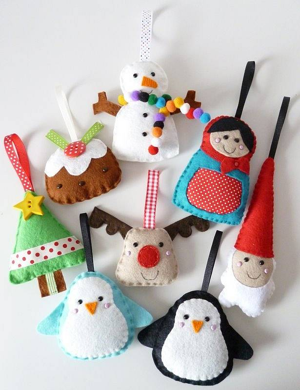 Large Felt Christmas Decorations Handmade By Paper And String