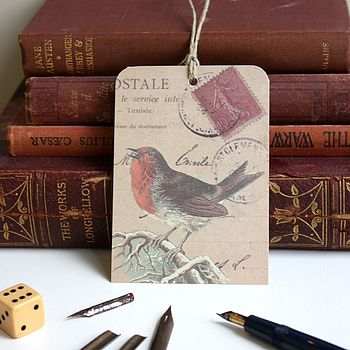 Set Of Ten 'Christmas Robin' Gift Tags