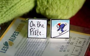 On The Piste Bone China Cufflinks - men's accessories