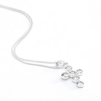 Girls Sterling Silver Cross Necklace