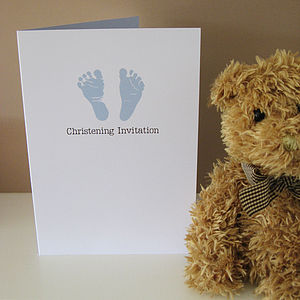 Footprint Christening Invitation