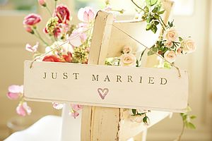'Just Married' Wooden Sign - hanging decorations
