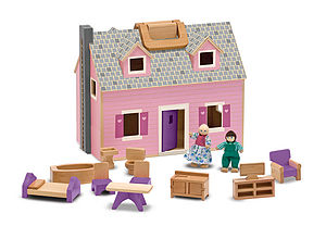 Fold And Go Mini Dolls House - traditional toys & games