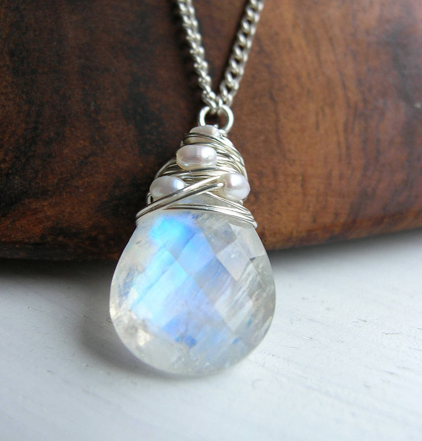 silver moonstone necklace with pearls by hickey