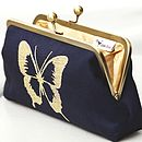 Metallic Butterfly Embroidered Clutch Bag