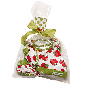 Strawberry Print Booties Hat And Bib