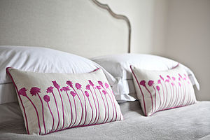 Pink Flower Silhouette Cushion - cushions
